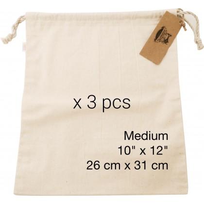 Reusable Ecogreen Multipurpose Bag (Medium x 3 pcs) *100% handmade with un-dyed cotton