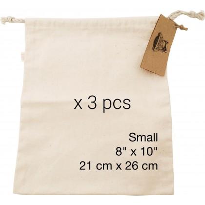 Reusable Ecogreen Multipurpose Bag (Small x 3 pcs) *100% handmade with un-dyed cotton